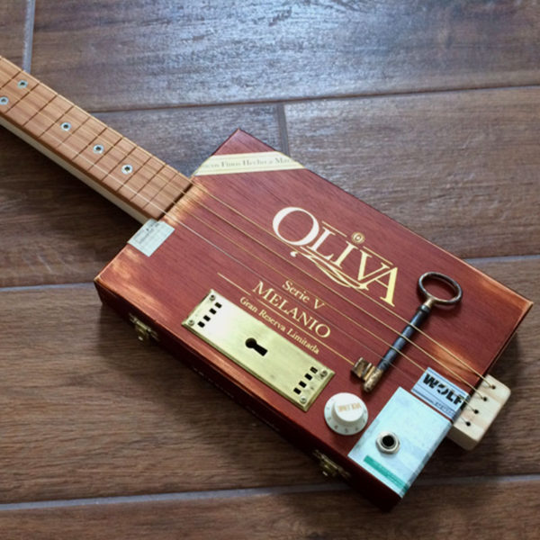 Lefthand cigar box guitar