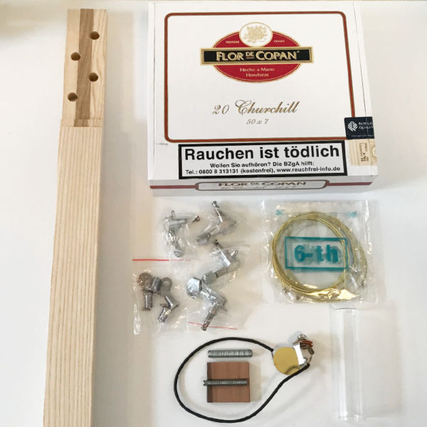 Cigar box guitar bausatz 4-saitig